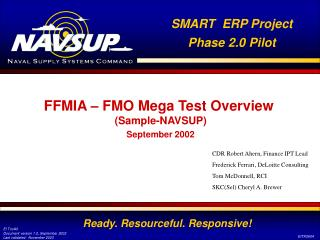 FFMIA – FMO Mega Test Overview  (Sample-NAVSUP)
