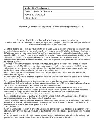 Medio: Sitio Web fyo Sección: Hacienda / Lecheria Fecha: 22 Mayo 2006 Parte 1 de 2