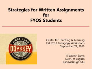 Strategies for Written Assignments for FYOS Students