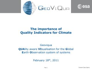 The importance of Quality Indicators for Climate