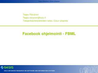 Facebook ohjelmointi - FBML