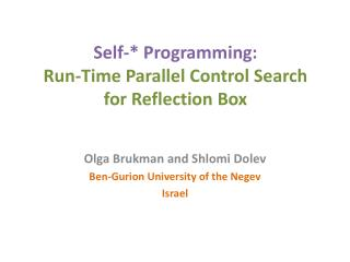 Self-* Programming:  Run-Time Parallel Control Search  for Reflection Box