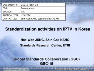 Standardization activities on IPTV in Korea