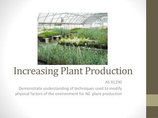 Increasing Plant Production