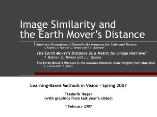 Image Similarity and  the Earth Mover's Distance