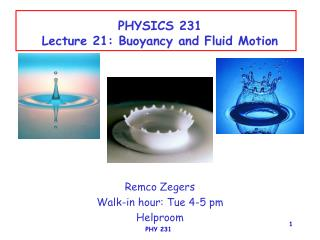 PHYSICS 231 Lecture 21: Buoyancy and Fluid Motion