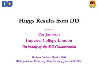 Higgs Results from D �
