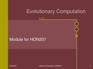 Intro to Evolutionary Computation  Lecture 1: Overview of EC