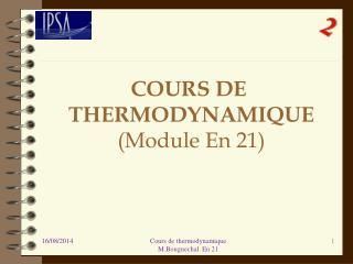 COURS DE thermodynamique  (Module En 21)