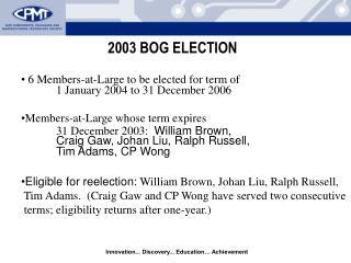2003 BOG ELECTION