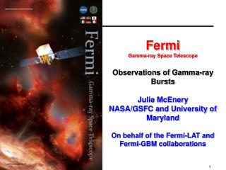 Fermi  Gamma-ray Space Telescope Observations of Gamma-ray Bursts Julie McEnery