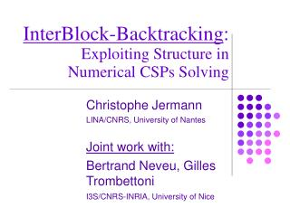 InterBlock-Backtracking :  Exploiting Structure in Numerical CSPs Solving