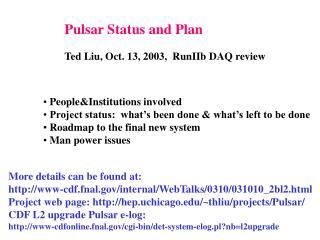 Pulsar Status and Plan