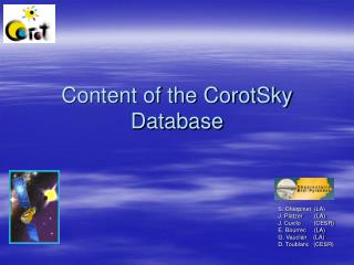Content of the CorotSky Database