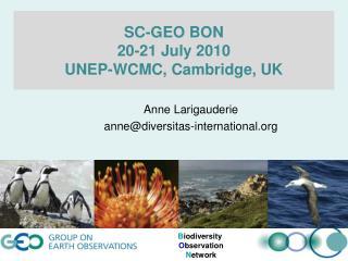 SC-GEO BON  20-21 July  2010 UNEP-WCMC, Cambridge, UK