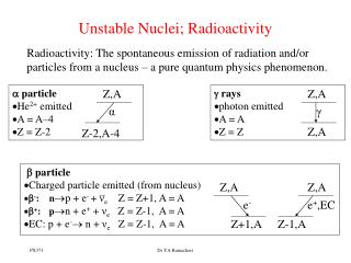 Unstable Nuclei; Radioactivity