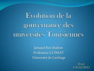 Evolution de la gouvernance des universités Tunisiennes