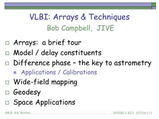 VLBI: Arrays & Techniques