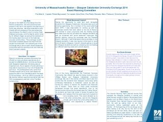 University of Massachusetts Boston � Glasgow Caledonian University Exchange 2014