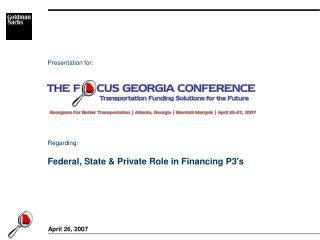 Federal, State & Private Role in Financing P3's