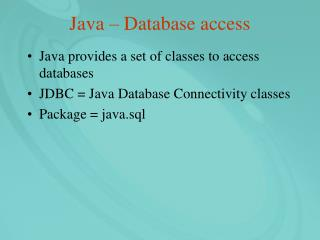Java – Database access