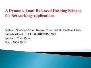 A Dynamic Load-Balanced Hashing Scheme for Networking Applications