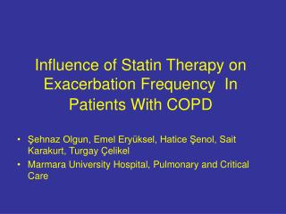Influence of Statin Therapy on Exacerbation Frequency  In Patients With COPD