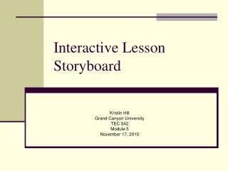 Interactive Lesson Storyboard