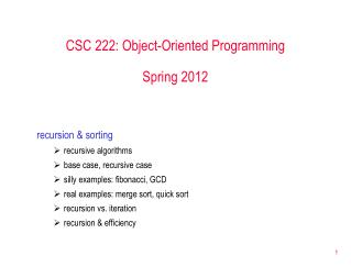 CSC 222: Object-Oriented Programming Spring 2012
