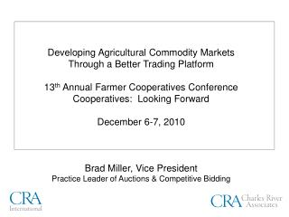 A Better Market Mechanism for Agricultural Commodities Overview