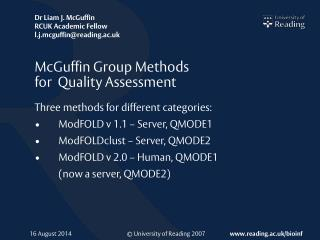 McGuffin Group Methods  for  Quality Assessment