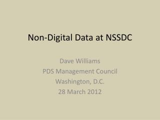 Non-Digital Data at NSSDC