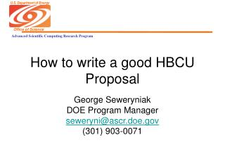 How to write a good HBCU Proposal