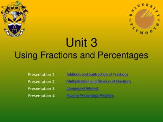 Unit 3 Using Fractions and Percentages