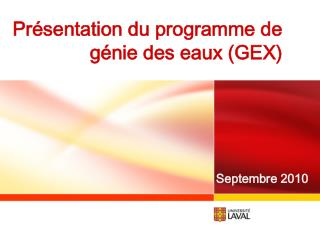 Présentation du programme de génie des eaux (GEX)