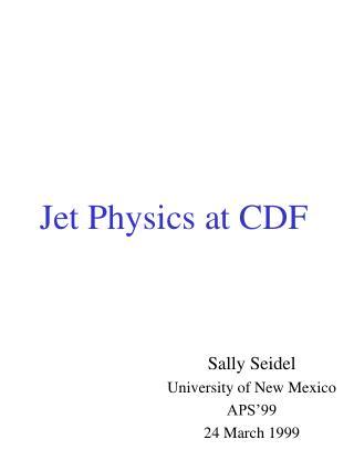 Jet Physics at CDF