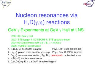 Nucleon resonances via H,D( g,h ) reactions