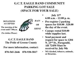 G.C.T. EAGLE BAND COMMUNITY PARKING LOT SALE  (SPACE FOR YOUR SALE)