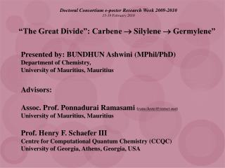 �The Great Divide�: Carbene  ? Silylene ? Germylene�