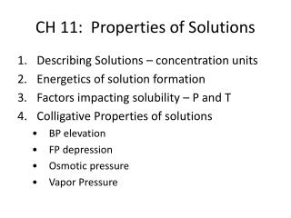 CH 11:  Properties of Solutions