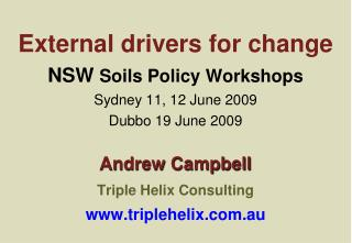 External drivers for change  NSW Soils Policy Workshops Sydney 11, 12 June 2009 Dubbo 19 June 2009