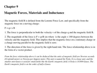 Chapter 9  Magnetic Forces, Materials and Inductance
