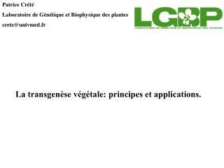 Patrice Cr t  Laboratoire de G n tique et Biophysique des plantes creteunivmed.fr