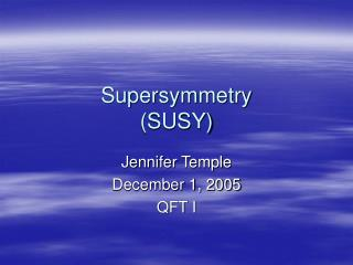 Supersymmetry SUSY