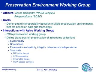 Preservation Environment Working Group