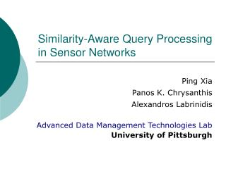 Similarity-Aware Query Processing in Sensor Networks
