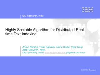 Highly Scalable Algorithm for Distributed Real-time Text Indexing