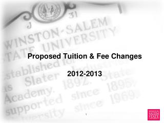 Proposed Tuition & Fee Changes 2012-2013