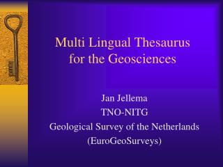 Multi Lingual Thesaurus for the Geosciences