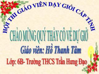 Giáo viên: Hồ Thanh Tâm